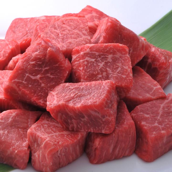 松阪牛モモ肉角切りステーキ100g×4パック