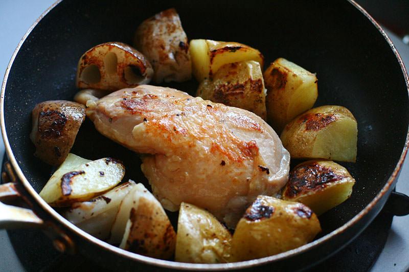 鶏のコンフィと根菜のロースト