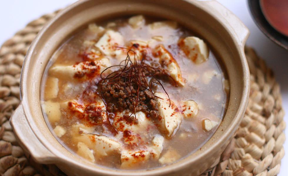 そぼろ豆腐のピリ辛スープ
